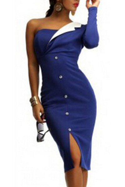 Fashion One Shoulder Long Sleeve Front Split Buckles Decorated Blue Polyester Sheath Knee Length Dress<br>