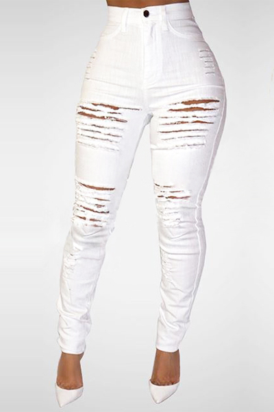 Trendy High Waist Broken Holes White Denim Skinny Jeans<br>