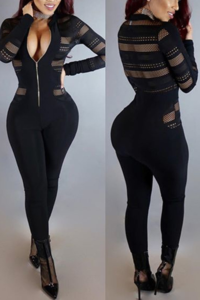 Sexy Round Neck Long Sleeves Gauze Patchwork Polyester One-piece Skinny Jumpsuits<br>