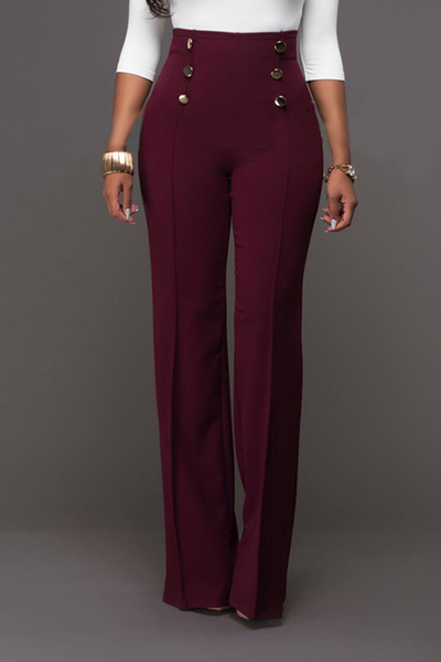 Trendy High Waist Double-breasted Decorative Wine Red Polyester Pants<br>