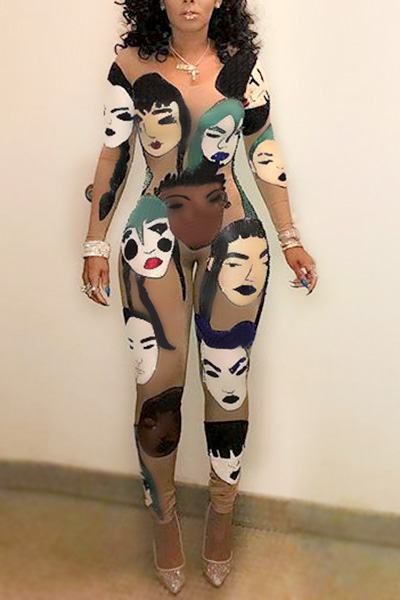 Euramerican Round Neck Long Sleeves Head Portrait Printed Qmilch One-piece Skinny Jumpsuits<br>