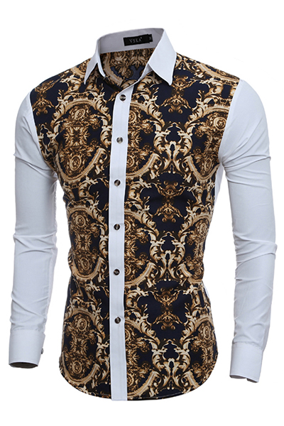 Cardigan Cotton Blends Turndown Collar Long Sleeve Print Men Clothes<br>