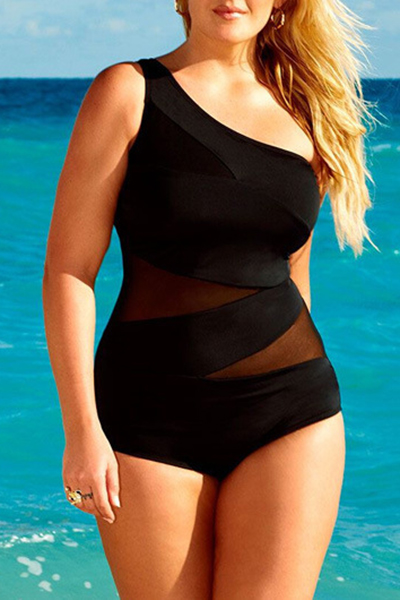 Sexy Gauze Patchwork Black Ployester One-piece Swimwear<br>