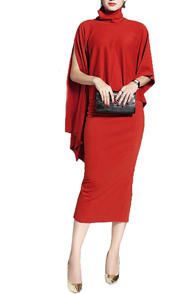 Cotton Fashion O neck Long Sleeve Mid Calf Dresses Dresses <br><br>
