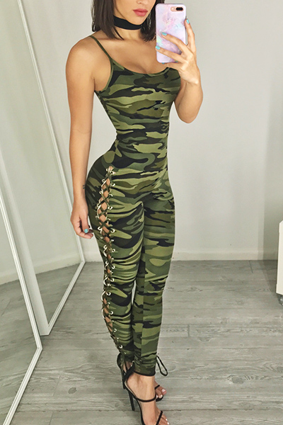 Sexy Spaghetti Strap Sleeveless Camouflage printed Polyester One-piece Skinny Jumpsuits<br>
