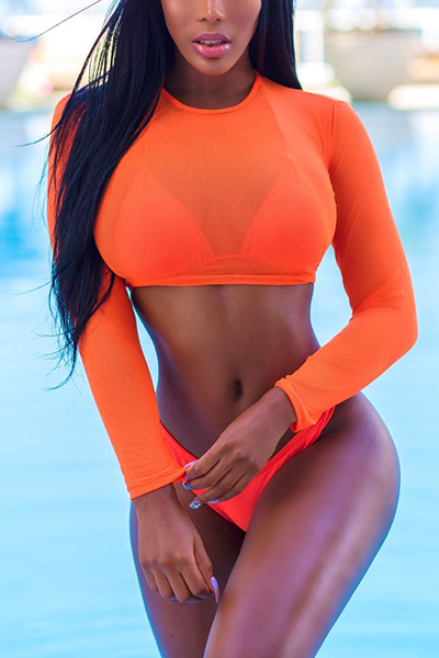 Euramerican Orange Polyester Three-piece Swimwear<br>