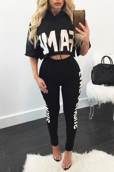 Leisure Round Neck Half Sleeves Letters Printed Black Milk Silk Two-piece Pants Set<br>