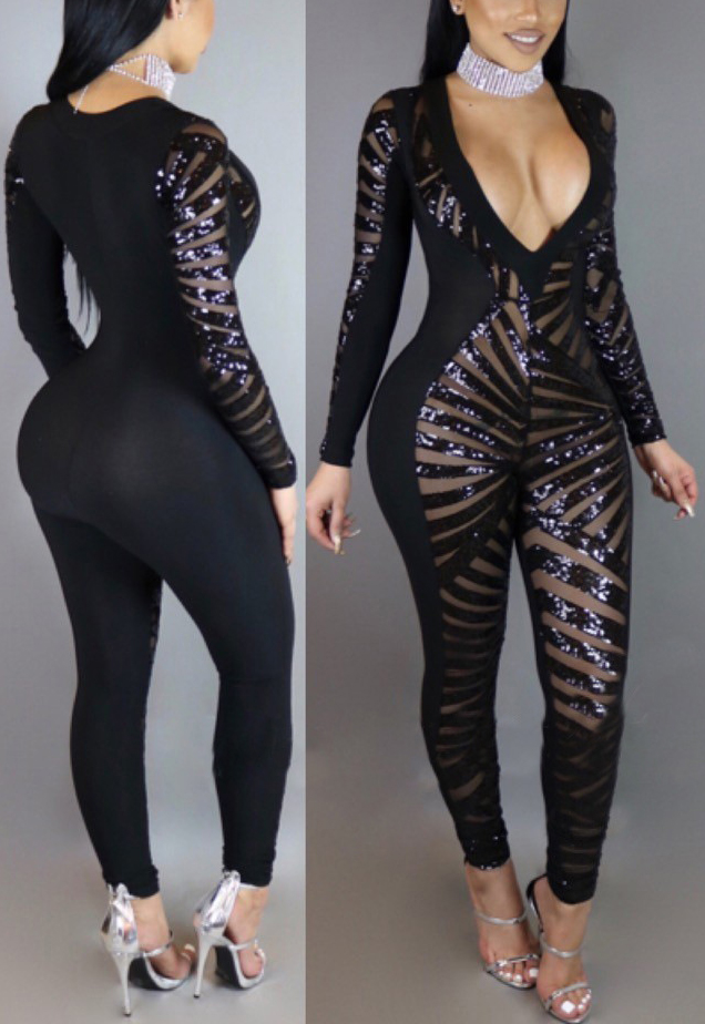 Sexy V Neck Long Sleeves See-Through Black Qmilch One-piece Skinny Jumpsuits<br>