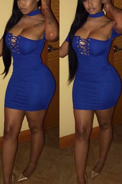 Sexy Hollow-out Blue Milk Fiber Sheath Mini Dress Dresses <br><br>