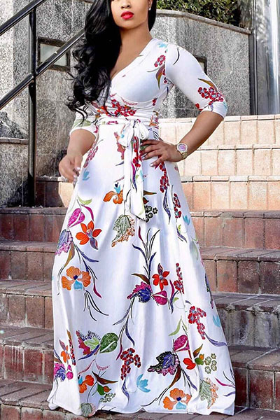 Stylish  V Neck Half Sleeves Printed White Milk Fiber Floor Length Dress Dresses <br><br>