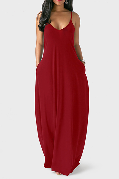 Casual V Neck Asymmetrical Wine Red Blending Floor Length Dress Dresses <br><br>