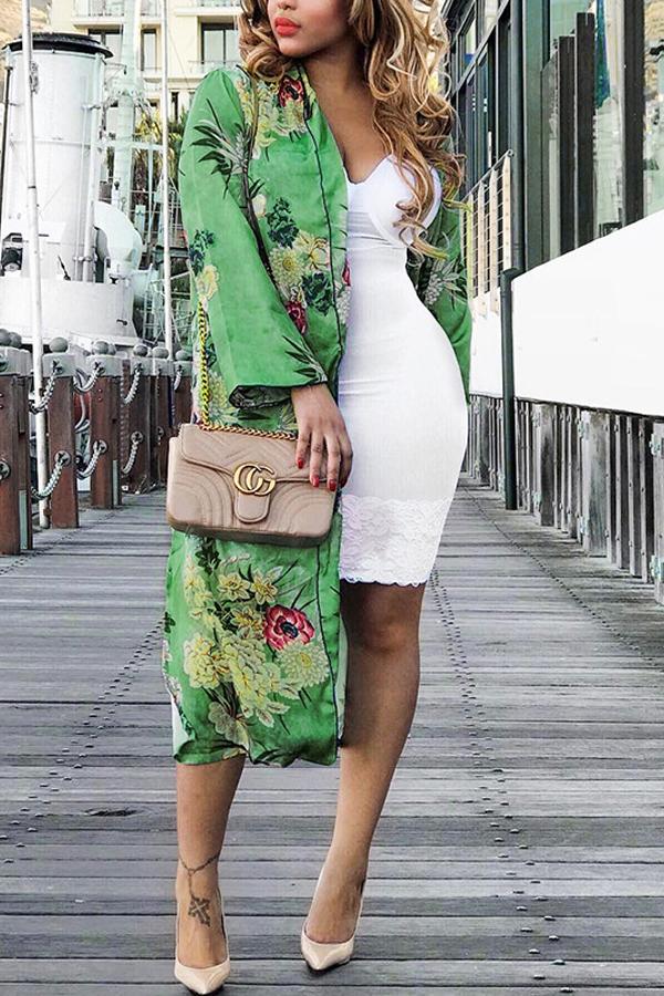 Euramerican Turndown Collar Long Sleeves Floral Print Yellow-green Coat<br>