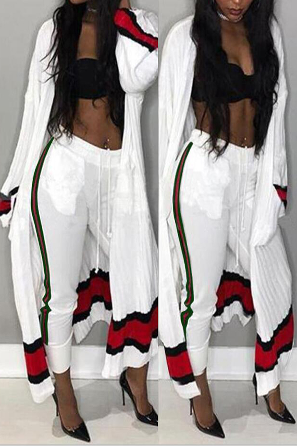 Euramerican Striped Patchwork White Polyester Two-piece Pants Set( Without Bra)<br>