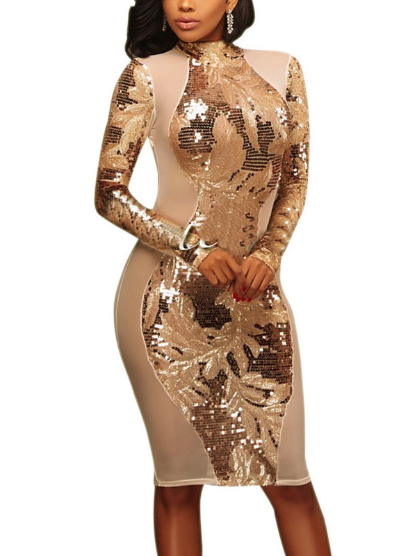 Sexy Patchwork Sequined Decorative Polyester Sheath Knee Length Dress Dresses <br><br>