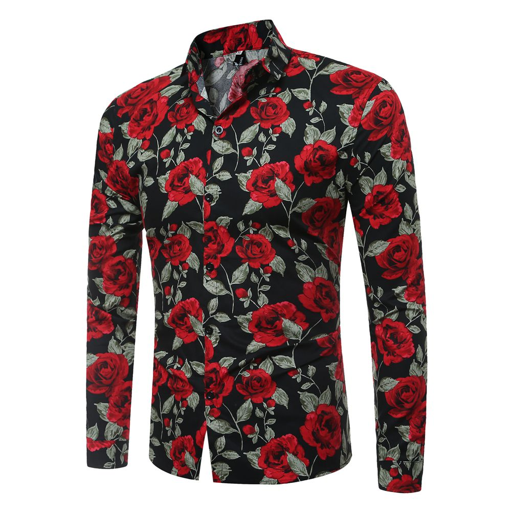 Trendy Long Sleeves Rose Printed Black Cotton Blends Shirts<br>