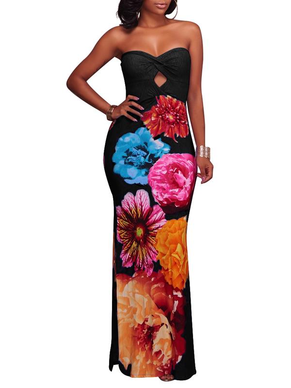 Trendy Dew Shoulder Floral Print Black Polyester Sheath Ankle Length Dress Dresses <br><br>