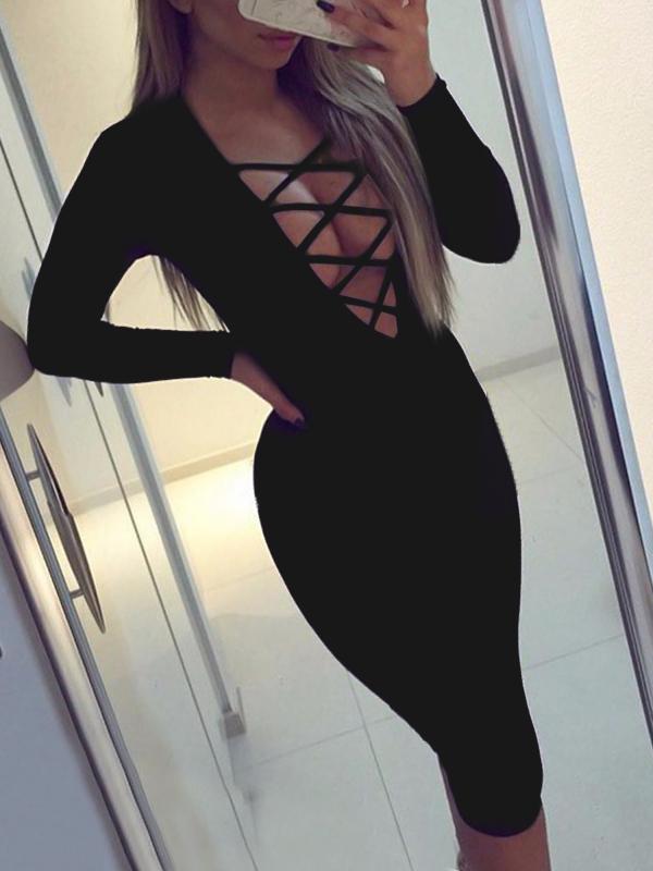 Sexy Deep V Neck Hollow-out Black Polyester Sheath Knee Length Dress Dresses <br><br>