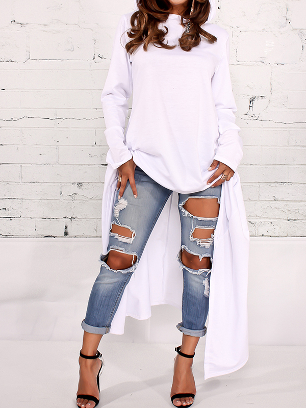 Leisure Round Neck Long Sleeves White Cotton Blends Pullovers<br>