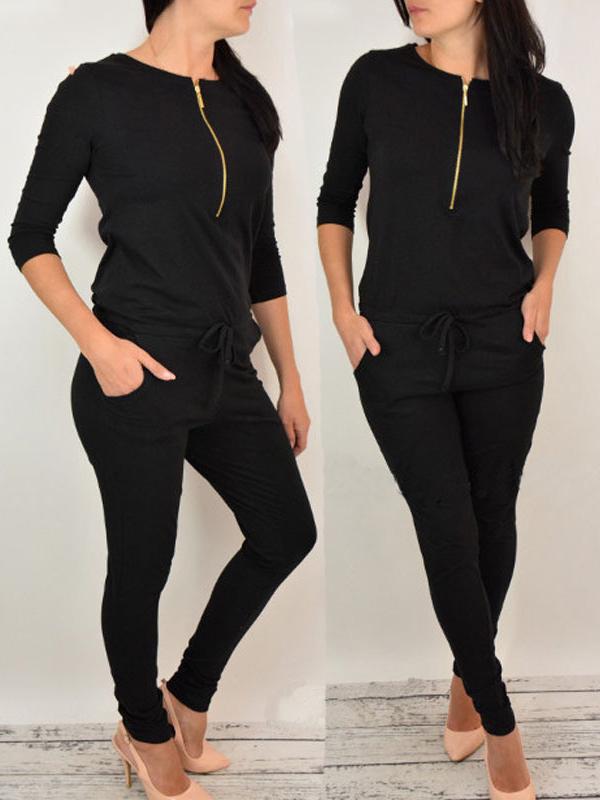 Leisure Round Neck Zipper Design Black Cotton Blends One-piece Jumpsuits<br>