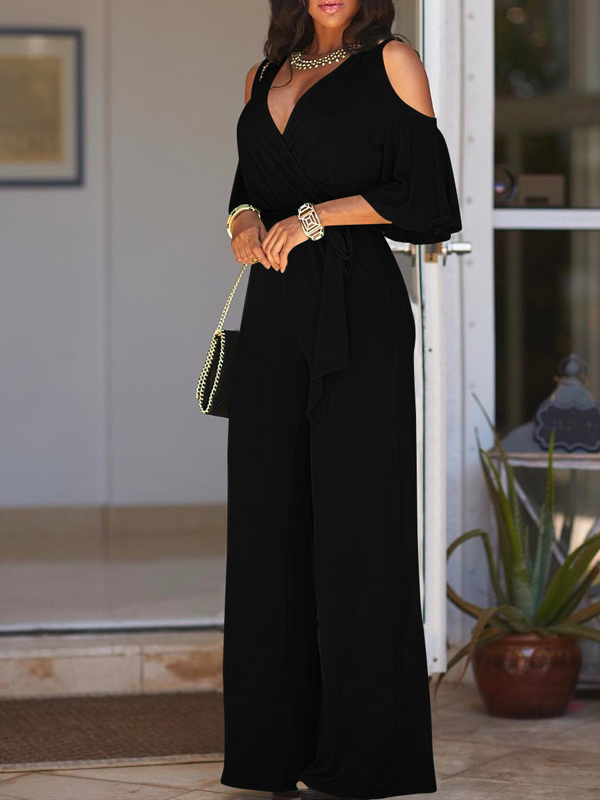 Euramerican Hollow-out Black Polyester One-piece Jumpsuits<br>