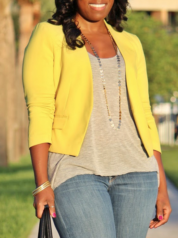 Stylish V Neck Long Sleeves Yellow Cotton Blends Short Coat<br>
