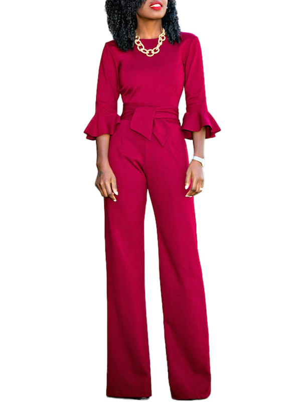 Euramerican Round Neck Half Sleeves Red Knitting One-piece Jumpsuits (Without Necklace)<br>
