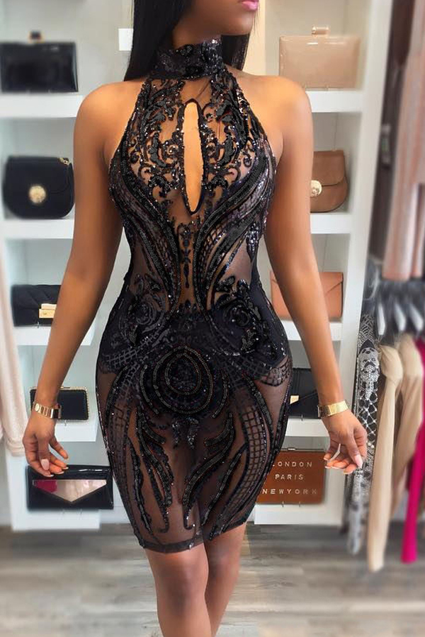 Sexy Turtleneck See-Through Backless Black Polyester Sheath Knee Length Dress Dresses <br><br>