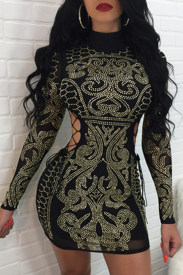 Sexy Hollow-out Rhinestone Decorative Black Polyester Mini Dress Dresses <br><br>