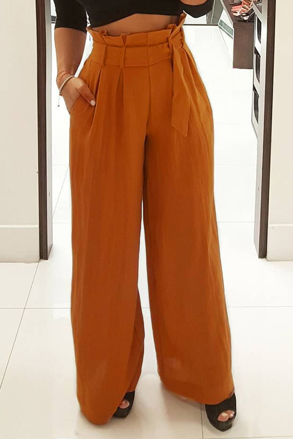 Stylish High Waist Yellow Cotton Pants(With Belt)<br>