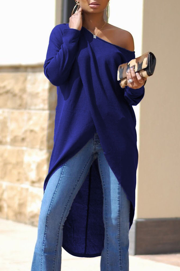 Leisure Dew Shoulder Long Sleeves Asymmetrical Navy Blue Cotton Shirts<br>
