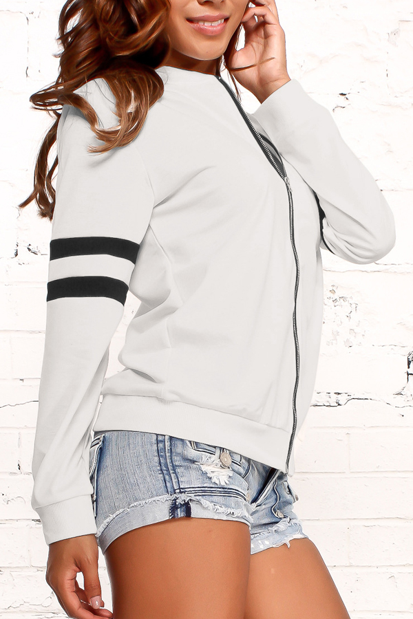 Leisure Round Neck Zipper Design White Cotton Coat<br>