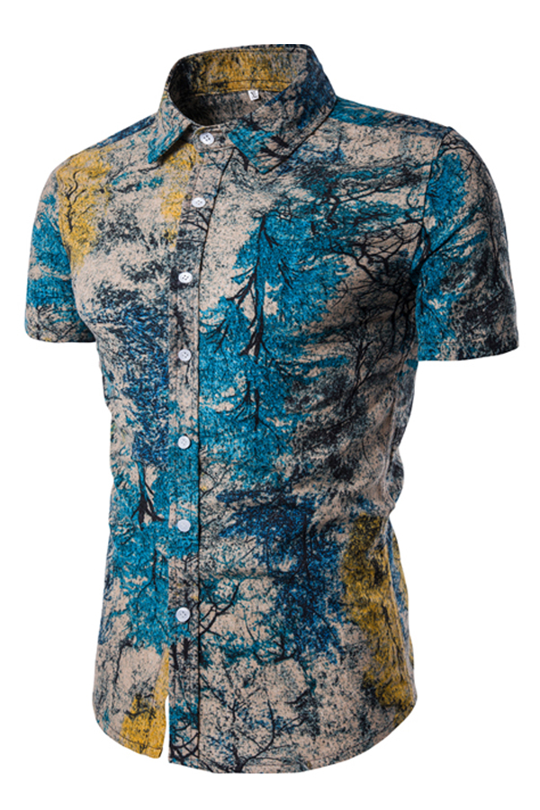 Blending Turndown Collar Short Sleeve Print Men Clothes<br>