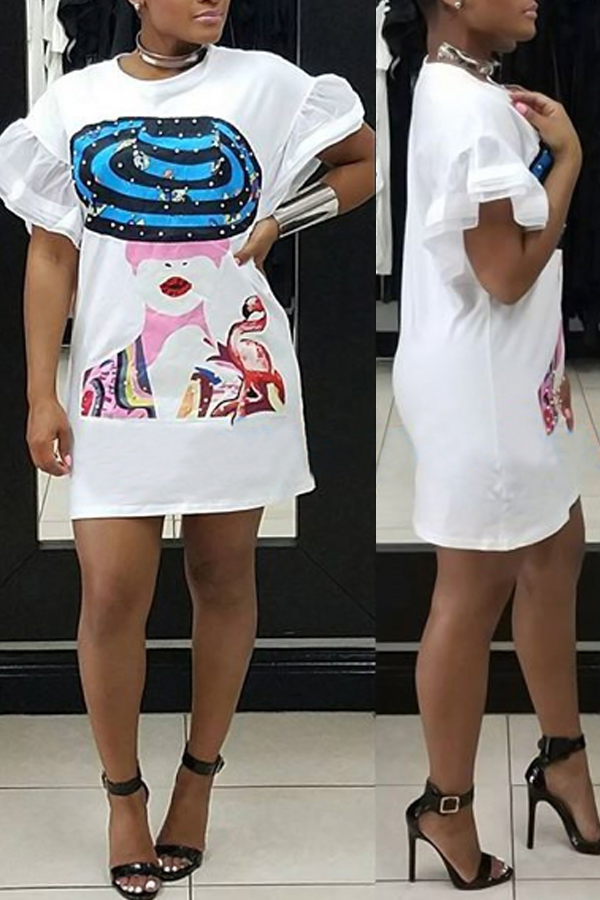 Polyester Casual O neck Cap Sleeve Short Sleeve Straight Mini Dresses Dresses <br><br>