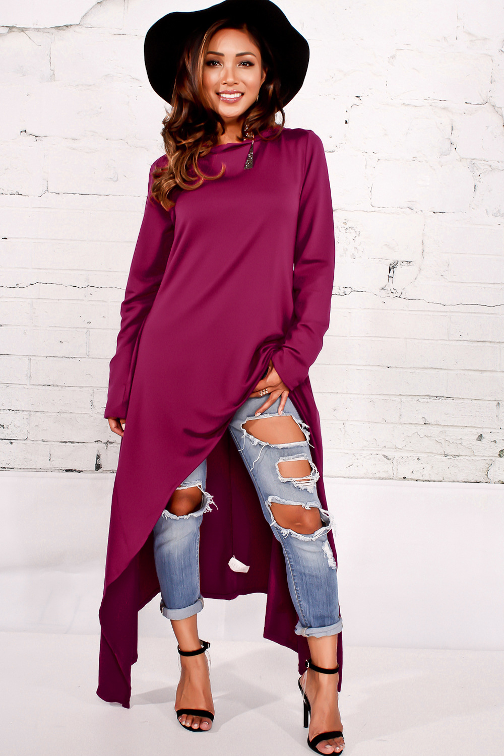 Leisure Round Neck Long Sleeves Purple Cotton Blends Pullovers<br>