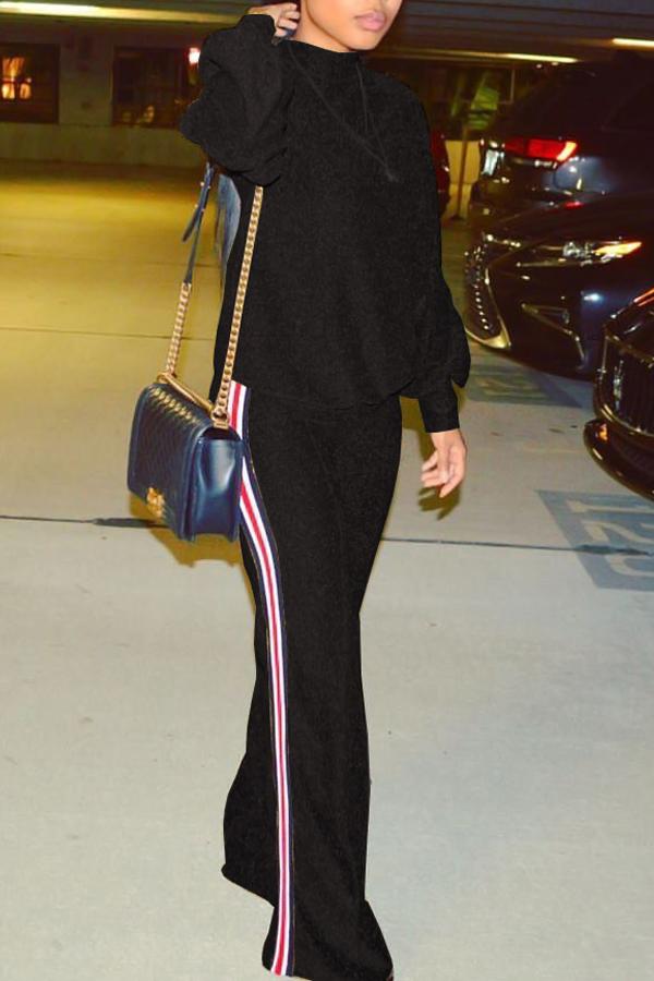 Stylish Round Neck Patchwork Black Nylon Two-piece Pants Set<br>