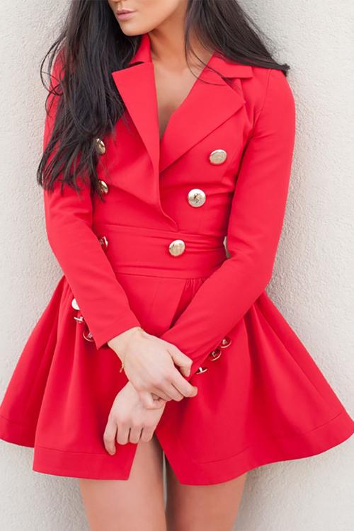 Trendy V Neck Double-breasted Design Red Linen Mini Dress Dresses <br><br>