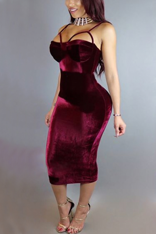 Sexy Hollow-out Wine Red Velvet Sheath Mid Calf Dress Dresses <br><br>