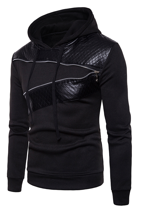 Casual Long Sleeves Patchwork Black Cotton Blends Hoodie<br>