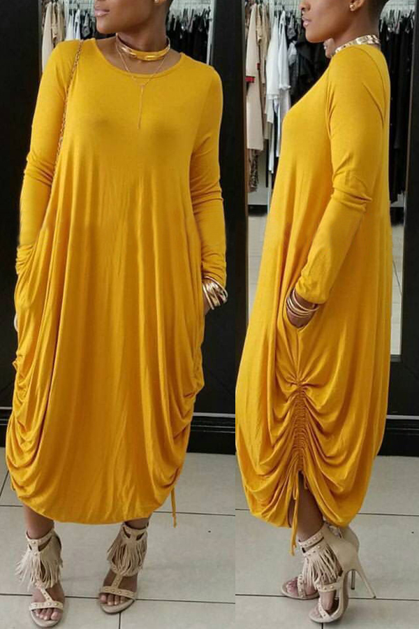 Casual Round Neck Yellow Polyester Mid Calf Dress Dresses <br><br>