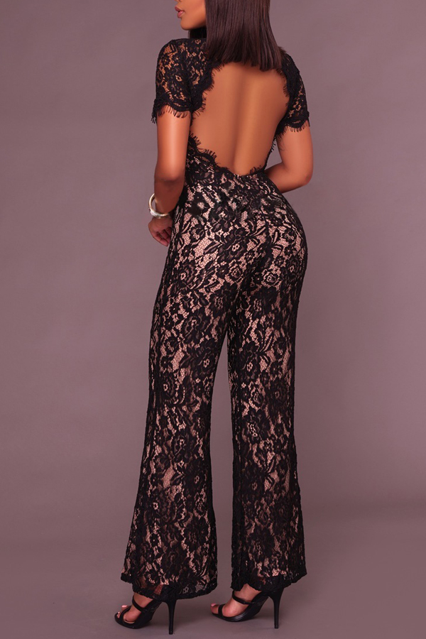 Sexy Stand Collar Hollow-out Black Bud Silk One-piece Jumpsuits<br>