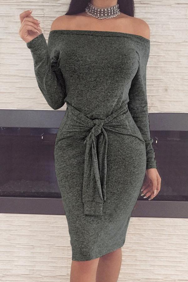 Casual Dew Shoulder Lace-up Dark Grey Polyester Sheath Knee Length Dress Dresses <br><br>