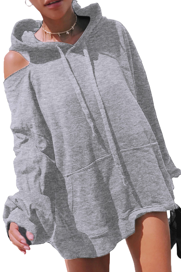 Fashionable Hooded Collar Hollow-out Grey Cotton Hoodies<br>