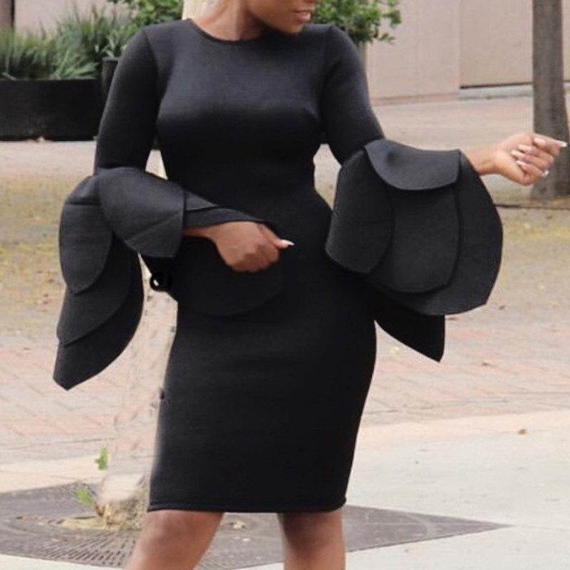 Trendy Round Neck Horn Sleeves Black Cotton Blend Sheath Knee Length Dress Dresses <br><br>