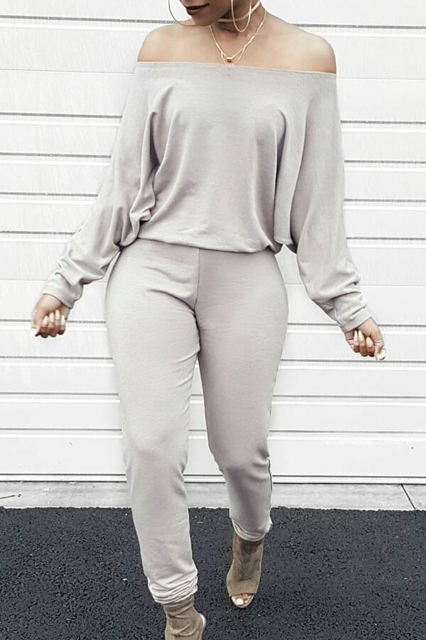 Stylish Bateau Neck Batwing Sleeves Grey Blending One-piece Jumpsuits<br>