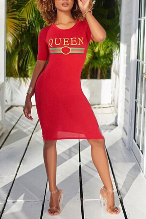 Stylish Round Neck Letters Printed Red Polyester Knee Length Dress Dresses <br><br>
