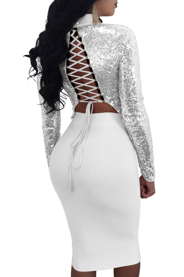 Sexy Mandarin Collar Lace-up Hollow-out Silver Polyester Two-piece Skirt Set(Double Side Wear)<br>