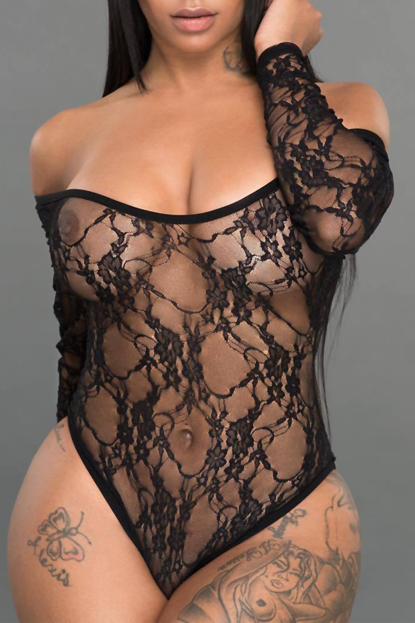 Sexy U Neck See-Through Black Lace One-piece Jumpsuits<br>