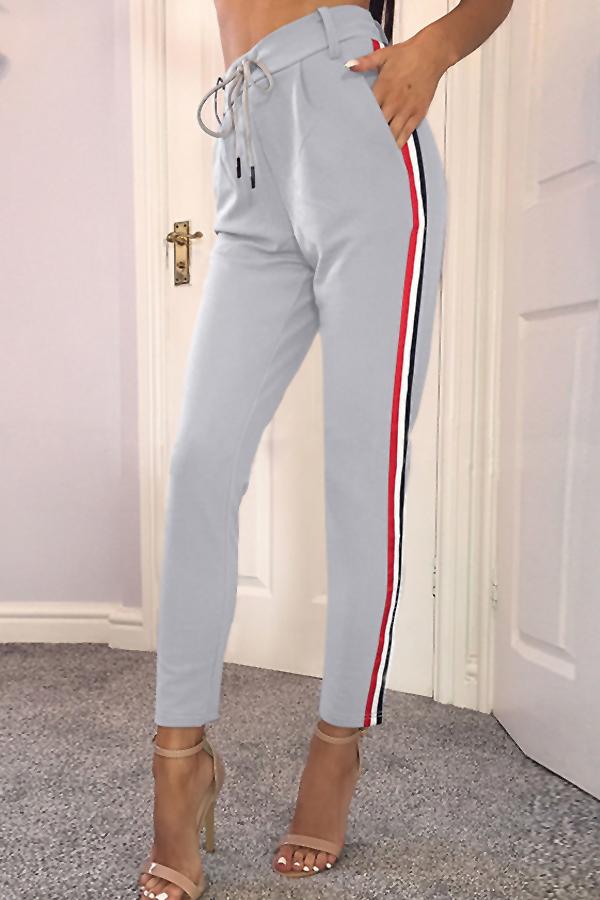 Euramerican High Waist Striped Patchwork Grey Polyester Pants<br>