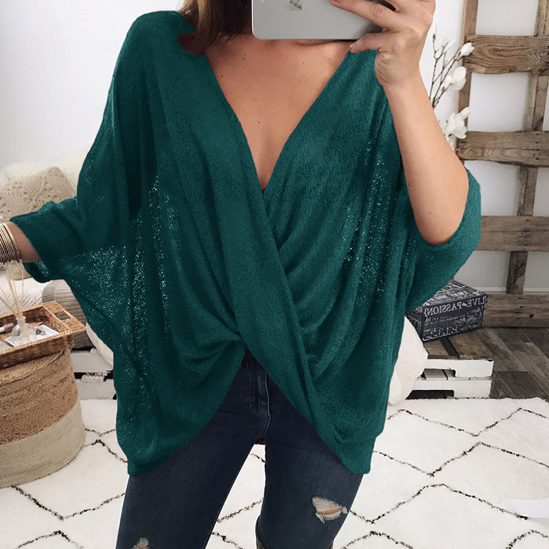 Leisure V Neck Cross Fold Design Dark Green Polyester Shirts<br>