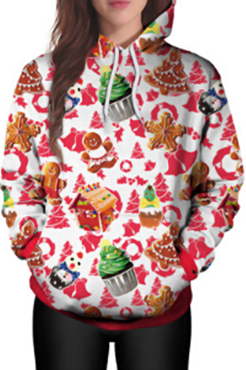 Euramerican Hooded Collar Christmas Printed Polyester Hoodies(Non Positioning Printing)<br>